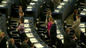 UKIP MEPs turning their backs during the execution of the 'Ode to Joy'. From www.bbc.com