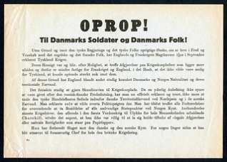 9th of April 1940. Front-side of a leaflet dropped from a Nazi-German aircraft bomber on the day of invasion. The Danish government capitulated later the same day