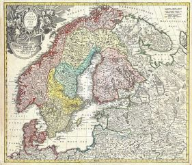 Homann Map of Scandinavia, Norway, Sweden, Denmark, Finland and the Baltics