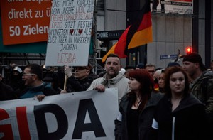 Lutz Bachmann in April 2015 participates at a rally in Leipzig (LEGIDA).