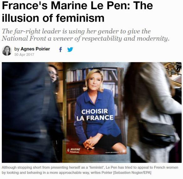 le pen fake feminism